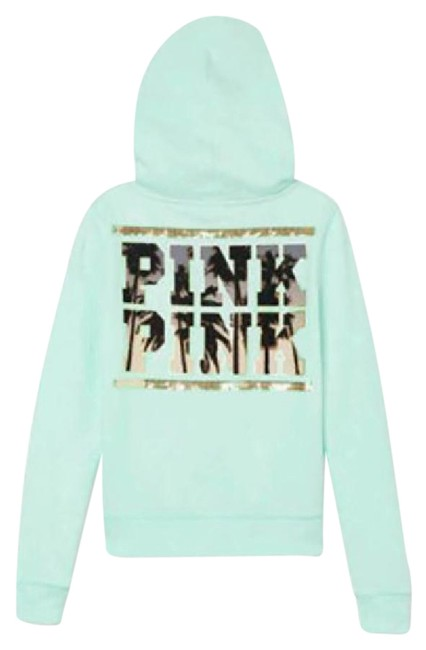 Item - Green Blue/Mint Ice/Teal Victoria's Secret Bling Tropical Palm Perfect Large Sweatshirt/Hoodie Size 12 (L)