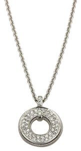 Marco Bicego Diamond 18k Gold Round Brill Pendant Necklace
