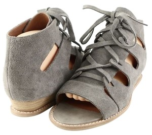 Jeffery Campbell Diaz Suede Designer Lace Up Low Wedge Open Toe Grey Sandals