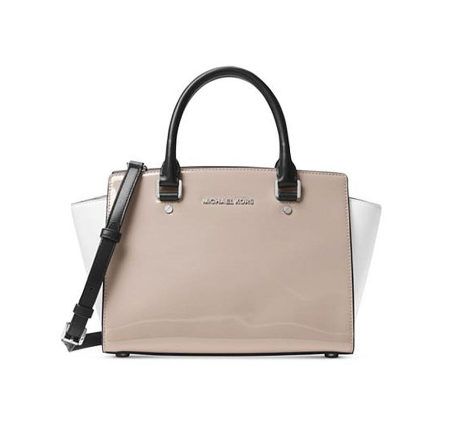 7939a421d3 ... Michael Kors Selma Satchel in cement gray silver .