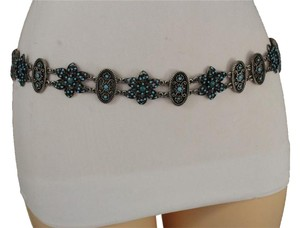Alwaystyle4you Women Belt Hip Waist Antique Silver Metal Chains Turquoise Flower