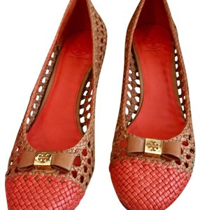 Tory Burch Tan and Poppy Red Pumps