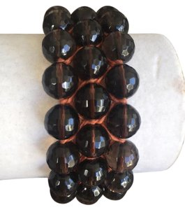 Chan Luu NEW AUTH CHAN LUU CHUNKY THREE ROW SMOKEY QUARTZ SINGLE WRAP BRACELET