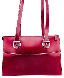 Jack Georges Leather Tote Contrast Stitching Silver Hardware Pockets Shoulder Bag