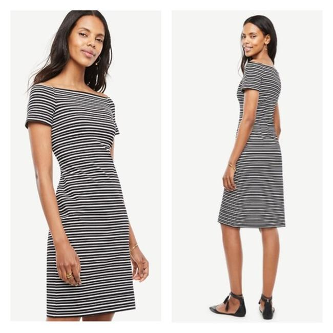 Preload https://img-static.tradesy.com/item/21631859/ann-taylor-black-white-stripe-off-shoulder-mid-length-short-casual-dress-size-4-s-0-0-650-650.jpg