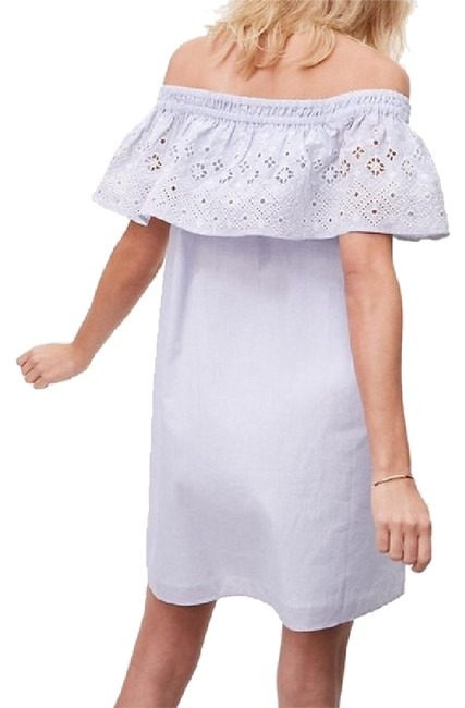 Preload https://img-static.tradesy.com/item/21631872/ann-taylor-loft-blue-white-eyelet-off-shoulder-ruffle-mid-length-short-casual-dress-size-petite-6-s-0-1-650-650.jpg