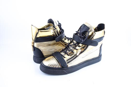Giuseppe Zanotti Double Zip High Top Sneakers Gold/Black Shoes