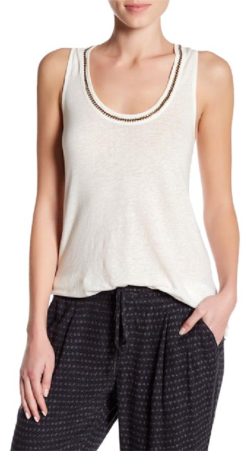 Joie Linen Sleeveless Woven Metallic Hardware Racer-back Top porcelain