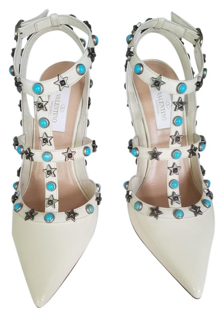 Item - Ivory Starstud Turquoise Patent Leather Limited Edition Formal Shoes Size EU 36 (Approx. US 6) Regular (M, B)
