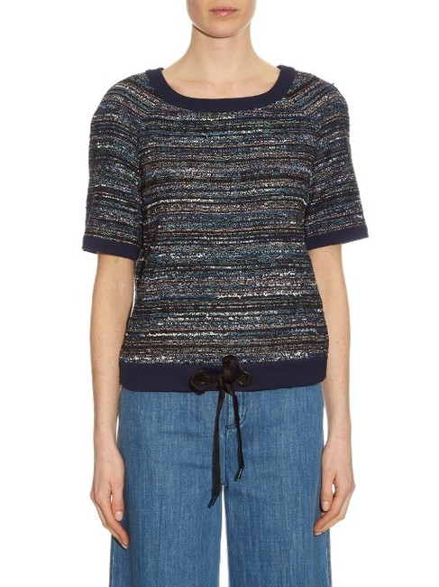 Diane von Furstenberg Tweed Cotton Short Sleeve Slip On Sweater