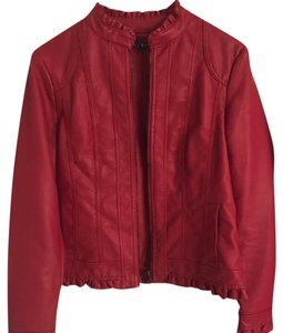 Baccini Leather Short Medium Red Jacket