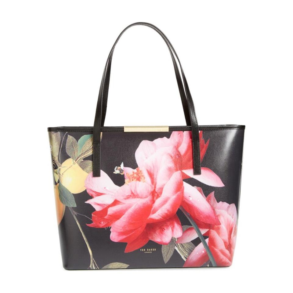ef3229ff02 Ted Baker Joanie Large Citrus Bloom Floral Black Leather Tote - Tradesy