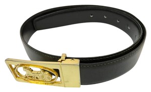 "Céline Celine Reversible Black and Brown Leather Belt Length 25.5"" to 29.5"""