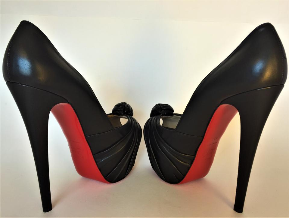 c068152e24b Christian Louboutin Black New 39.5it Lady Gres 20ans Platform High Heel Red  Sole Peep Toe Pumps Size EU 39.5 (Approx. US 9.5) Regular (M, B)