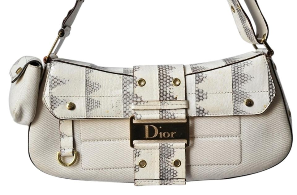 1c5f8476f7f1 Dior Street Chic Winter White Canvas and Snake Skin Shoulder Bag ...