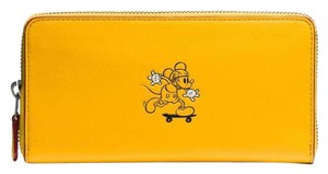 Coach Disney x Coach Mickey Accordion Zip Leather Wallet Banana