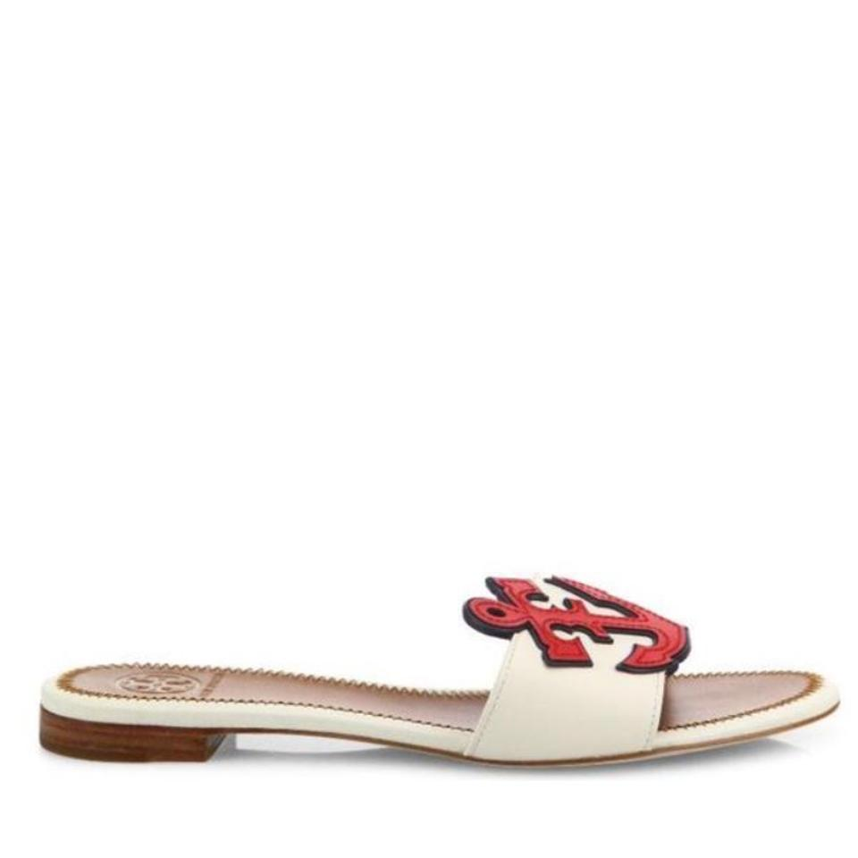 69467c80615 Tory Burch White Maritime Mismatched Slide Flat Red Navy Leather ...