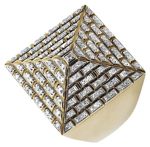 Jewelry Unlimited Men's Genuine Diamond 4-Sided Egyptian Pyramid Ring 1.0ct