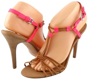 Coach Neon Leather Strappy Flourescent Pink / Tan Sandals