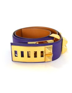 Hermès Hermes Indigo Purple Leather Collier De Chien CDC Medor Belt sz 85