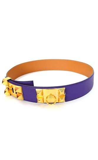 Hermès Hermes Indigo Purple Leather Collier De Chien CDC Medor Belt sz 85 Image 1