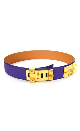 Hermès Hermes Indigo Purple Leather Collier De Chien CDC Medor Belt sz 85 Image 2