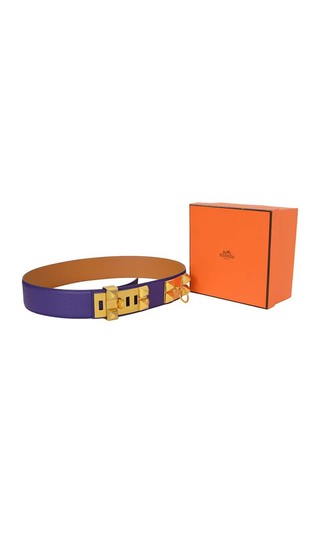 Hermès Hermes Indigo Purple Leather Collier De Chien CDC Medor Belt sz 85 Image 5
