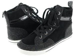 Coach Metallic Glitter Lace Up High Top Sneakers Black Athletic