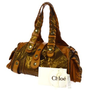 Chloé Chole Python Chole Python Python Logos Satchel in gold overtones and brown leather