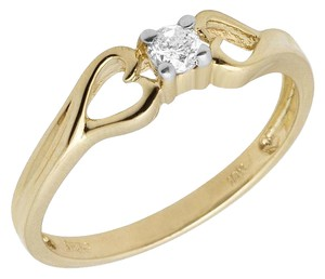 Jewelry Unlimited Ladies Solitaire Heart Genuine Diamond Prong Cocktail Ring .10ct