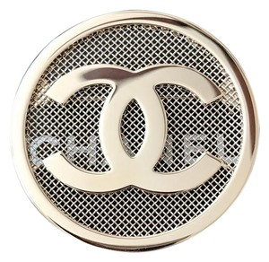 Chanel Large Round CC Logo Light Gold Metal Brooch Pin 1.75""