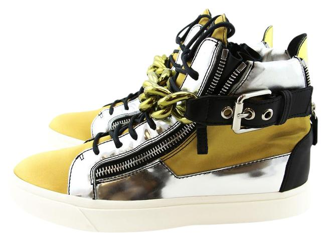 Item - Green New Luxury Satin & Leather High-top Chain / 43 Sneakers Size US 10 Regular (M, B)