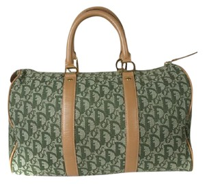 Dior Has Lock & Key Gold Hardware Logo Accents Print Xl Daily Satchel in Trotter style embroidered canvas in greens and with camel leaher