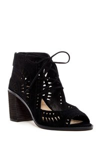 Vince Camuto Cut Out Zipper Open Toe Heel Lace Up Black Sandals