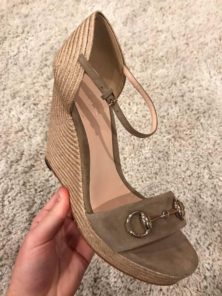 bc6b4bf40 Gucci Taupe Horsebit Carolina Beige Suede Espadrille Sandal Heel 39.5 Wedges  Size US 9.5 Regular (M, B) - Tradesy
