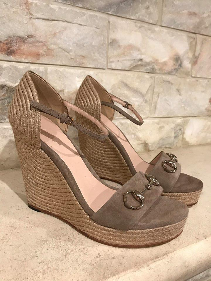 061a7b846 Gucci Espadrille Platform Ankle Strap Stiletto taupe Wedges Image 10.  1234567891011