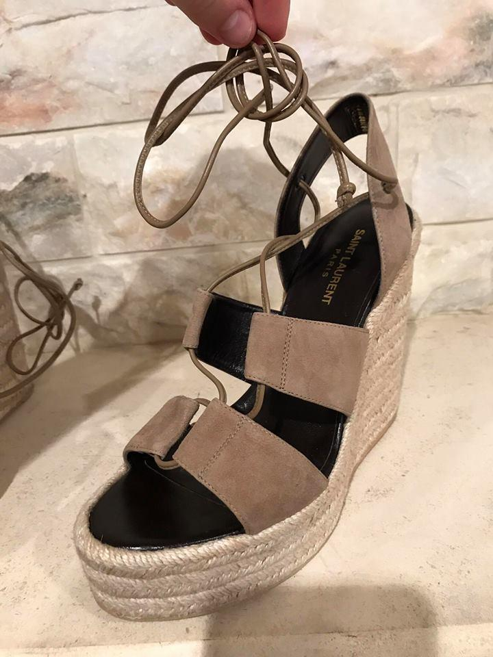 45c59d887 Saint Laurent Beige Taupe Suede Lace Up Espadrille 95 Sandal Heel 41 Wedges  Size US 11 Regular (M, B) - Tradesy