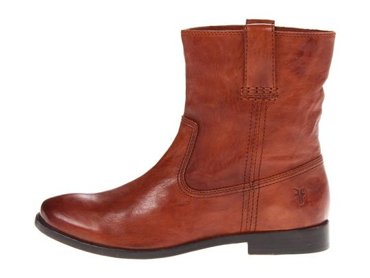 Frye Shortie Leather Stitching Pull On Cognac Antique Soft Vintage Boots