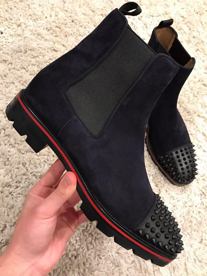 12ecc32251f Christian Louboutin Blue Melon Spike Black Suede Mens Flat Boots/Booties  Size US 13 Regular (M, B) 15% off retail