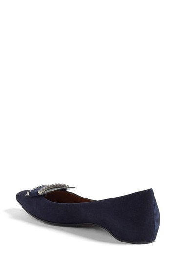 Aquatalia Suede Leather Medallion Weather Proof Slip On Navy Flats