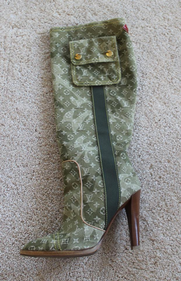 54a8435cf980 Louis Vuitton Lv Monogram Monogram Gold Hardware Camouflage Knee-high Green