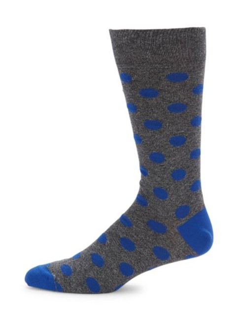 Item - Gray/Blue Cotton-blend Dotted One Size Made In Italy Socks