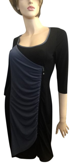 Item - Black/Slate Sexy Zip / Easy Care/ Short Night Out Dress Size 6 (S)