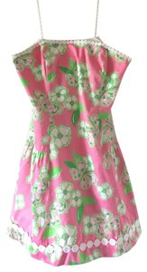 Lilly Pulitzer short dress Pink Strapless Green Tootie on Tradesy