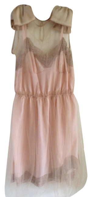 Item - Light Pink and Beige Above Knee Cocktail Dress Size 8 (M)