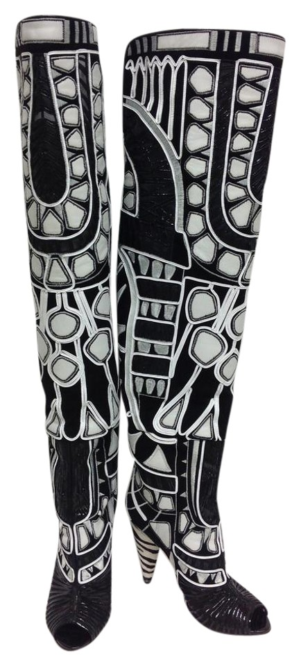 b723ab0753d Tom Ford Black and White Embroidered Over The Knee Boots Booties ...