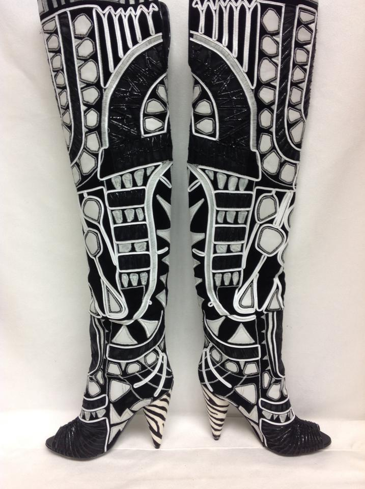6e46fe5c3ba Tom Ford Black and White Embroidered Over The Knee Boots Booties Size EU 39  (Approx. US 9) Regular (M