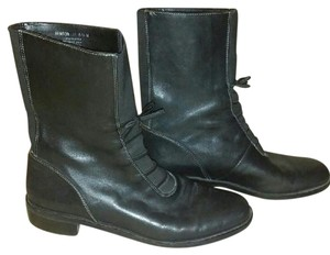 Laura Ashley Laura Leather Leather Vintage Inspired Black Boots