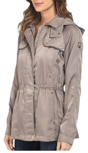 Vince Camuto Detachable Hood Coat Satin Anorak Satin Jacket