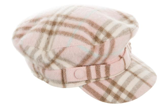 Item - Pink Multicolor L Beige Cashmere Nova Check Newsboy Cap Hat
